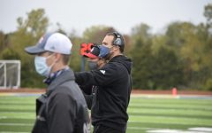 Ryan King coaches from the sidelines at the football game against Parkway South on Oct. 3.
