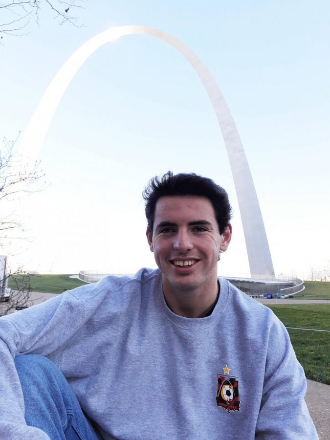Foreign exchange student Tomas Canals poses for a picture under the St. Louis Arch. One thing Canals misses about living in Spain is being able to walk everywhere.