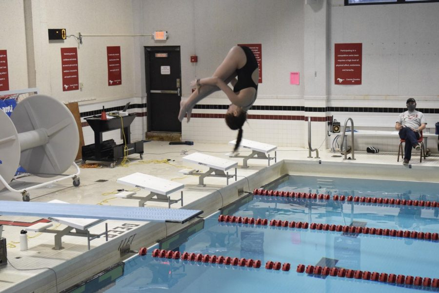 Hirsch dives into the deep end of Central's pool in the meet against Affton on Jan. 14.