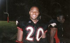 Cockrell, smiling and wearing his football jersey, stands on the Central field in 1998.