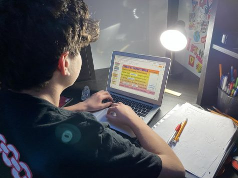 Freshman Jacob Abowitz does homework on his school issued Chromebook