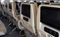 Airplane seats on the Kim's international flight to South Korea.