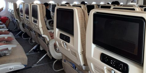 Airplane seats on the Kim's international flight to South Korea.