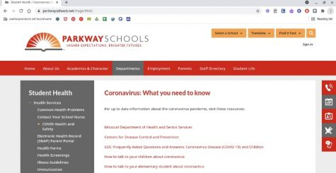 The Parkway Schools Homepage provides COVID-19 updates including positive and quarantine cases at each school.