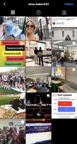 Ms. Baker's public Instagram page, used for school as well as life updates that her students can view. (Screenshot of Bakers Instagram account)